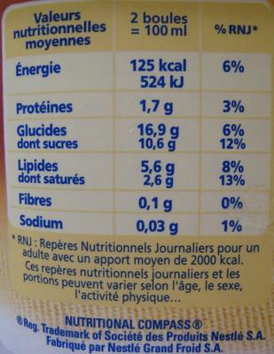 Crème glacée Vanille Amandes Caramélisées La Laitière (nouvelle recette) - Informations nutritionnelles