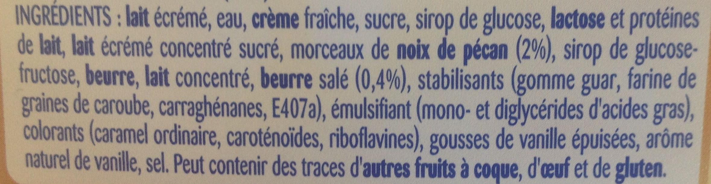 Glace vanille pécan caramel beurre salé, La Laitière - Ingredients - fr