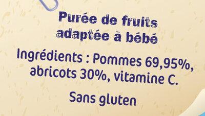NESTLE NATURNES Compotes Bébé Pommes Abricots -4x130g -Dès 4/6 mois - Ingredienti - fr