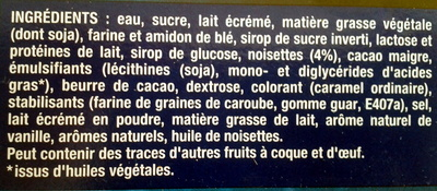 Extrême vanille praliné - Ingredients