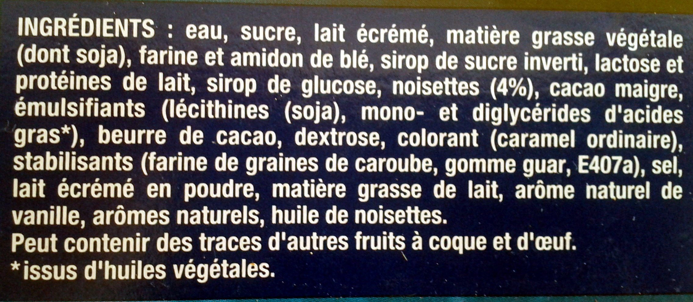 Extrême vanille praliné - Ingrédients - fr