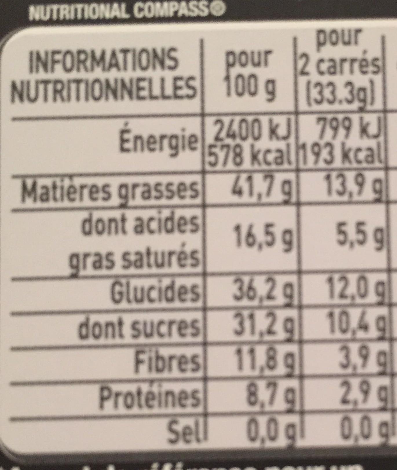 chocolat noisette - Nutrition facts - fr
