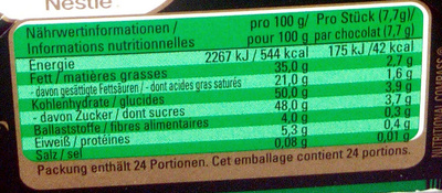 AFTER EIGHT Calendrier de l'Avent adulte Big Ben - Informations nutritionnelles - fr