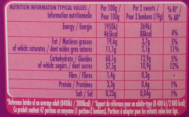 Quality Street - Informations nutritionnelles - fr