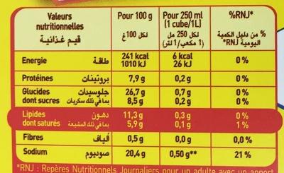 Bouillon de Volaille Halal - Informations nutritionnelles