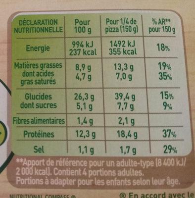 BUITONI FRAICH'UP pizza surgelée 4 Fromages - Informations nutritionnelles - fr