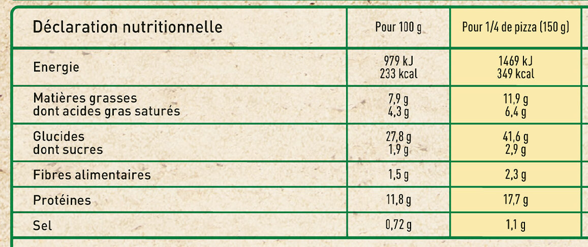 FRAICH'UP 4 Fromages - Informations nutritionnelles - fr