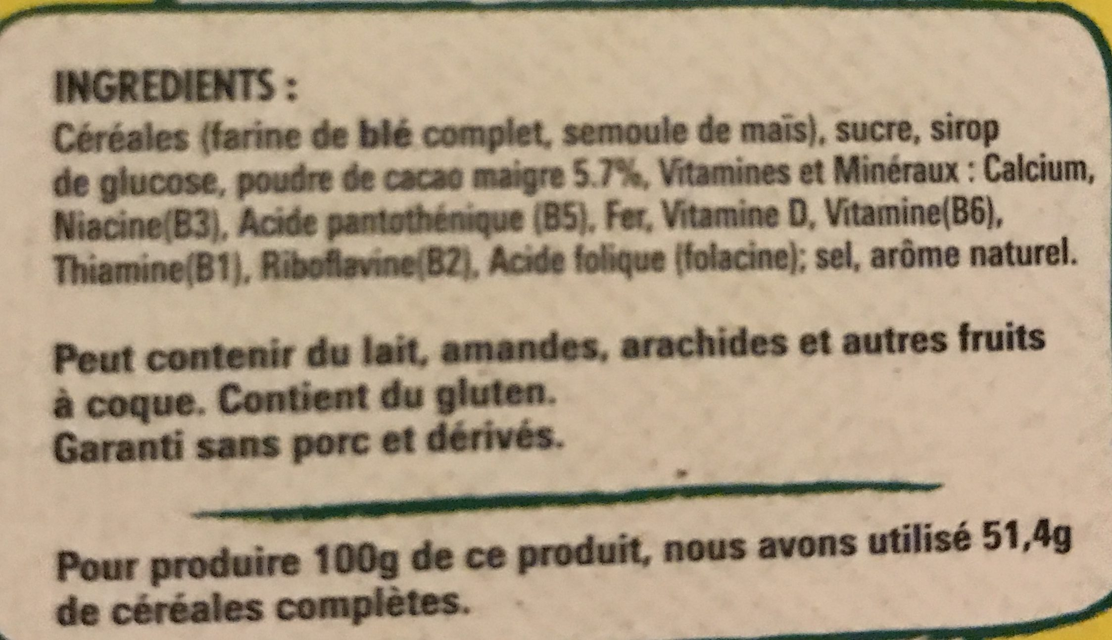 Céréales Nesquik Au Goût Chocolat - المكونات - fr