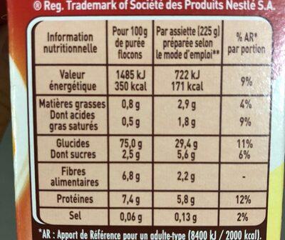 MOUSLINE Purée Nature, 4 sachets pour 4 personnes (4x130g) - Voedingswaarden - fr