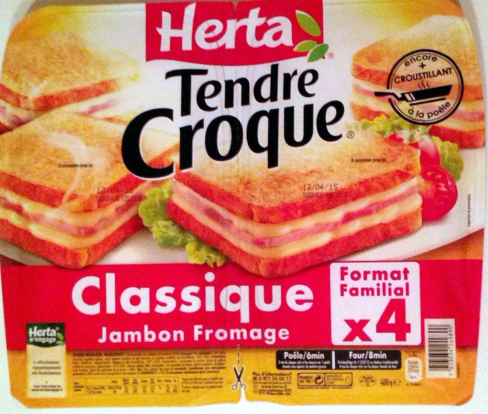 Tendre Croque, Classique Jambon Fromage (Format Familial x 4) - Produit