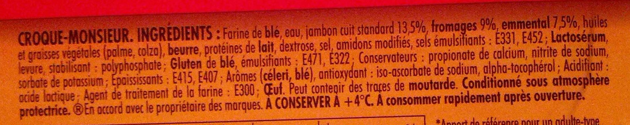 Tendre Croque, Classique Jambon Fromage (Format Familial x 4) - Ingrédients