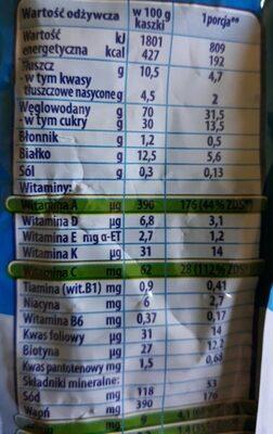 Papilla infantil arroz frambuesa - Información nutricional