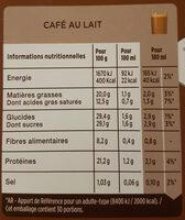 cafe con leche - Información nutricional