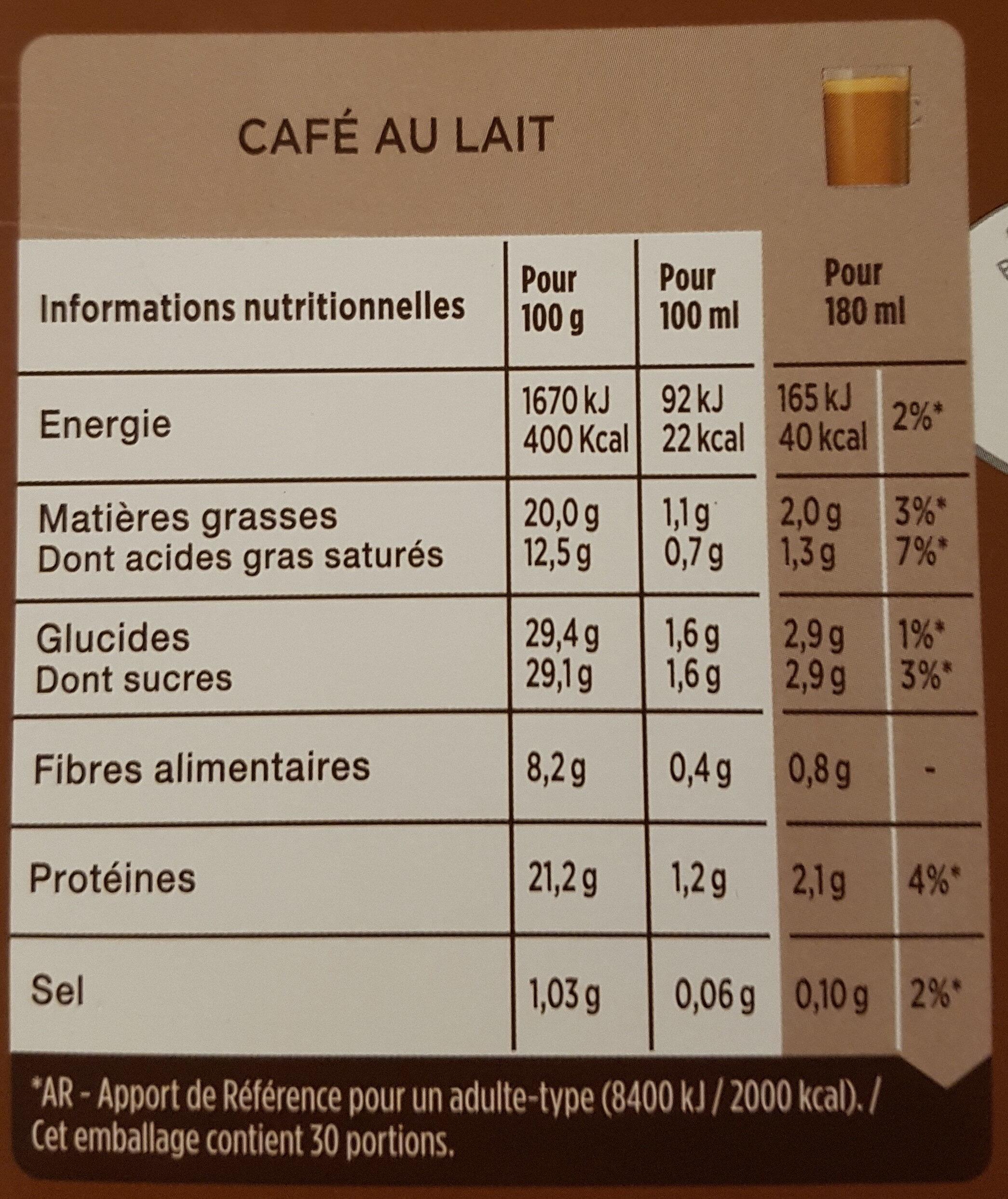 Café con leche - Nutrition facts - es