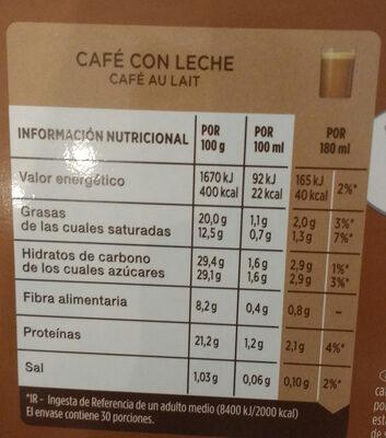 CAFÉ CON LECHE - Informations nutritionnelles - fr