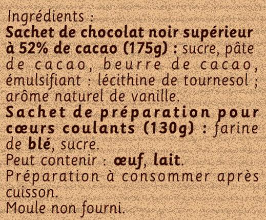 NESTLE DESSERT Préparation pour Cœurs Coulants au Chocolat - Ingrédients - fr