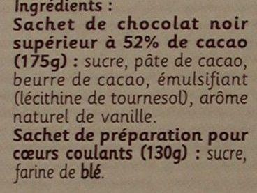 Coeurs coulants au chocolat - Ingrediënten
