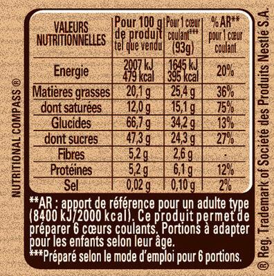 NESTLE DESSERT Préparation pour Cœurs Coulants au Chocolat - Informations nutritionnelles - fr
