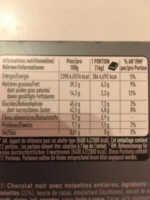 Cailler Crémant - Noisettes entières - Informations nutritionnelles - fr