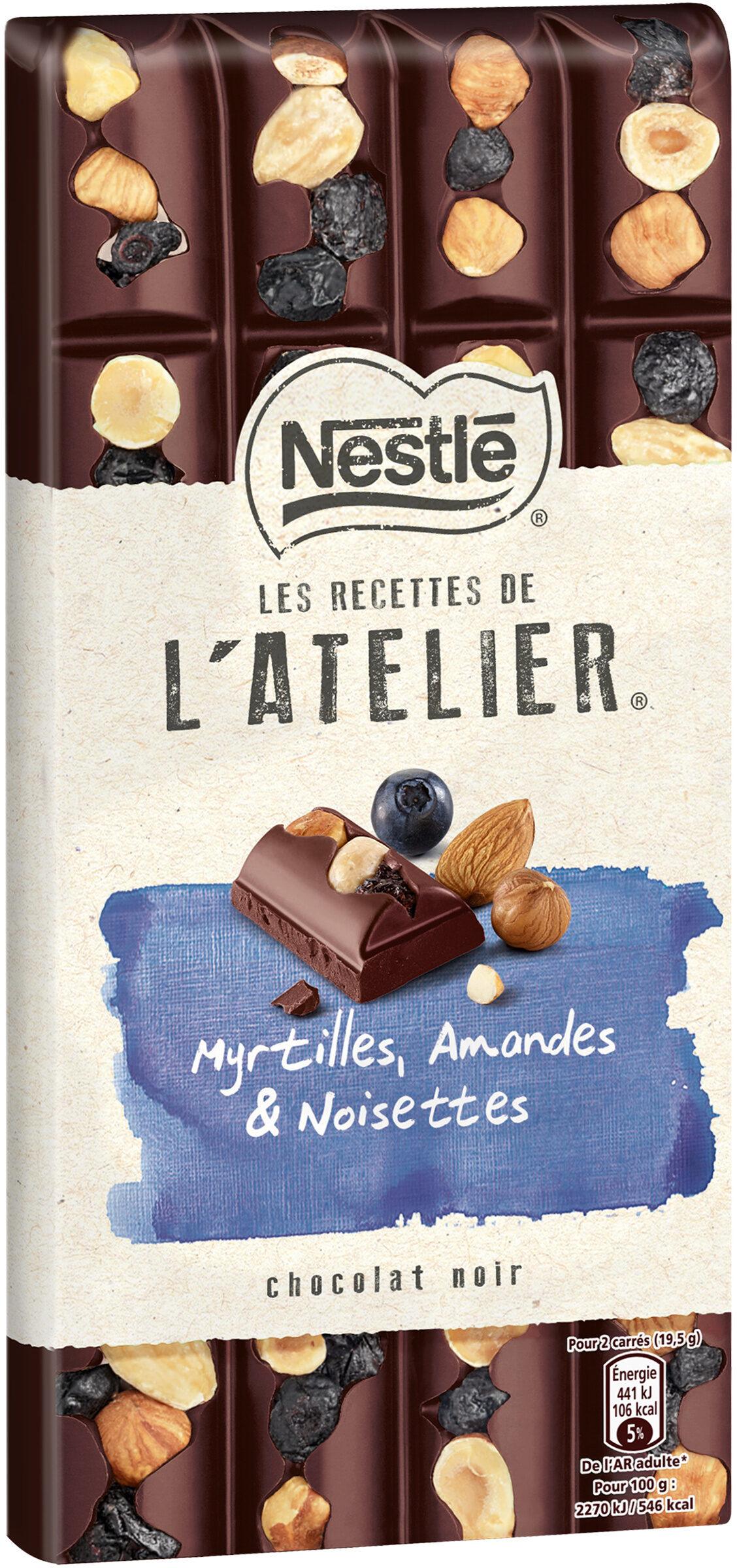 NESTLE L'ATELIER Chocolat Noir Myrtilles, Amandes et Noisettes - Produit - fr