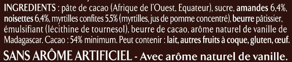 NESTLE L'ATELIER Chocolat Noir Myrtilles, Amandes et Noisettes - Ingrédients - fr