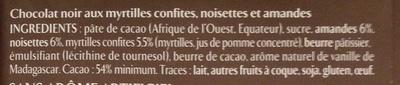 Chocolat noir myrtilles, amandes et noisettes - Ingredientes
