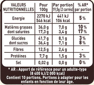 NESTLE L'ATELIER Chocolat Noir Myrtilles, Amandes et Noisettes - Informations nutritionnelles - fr