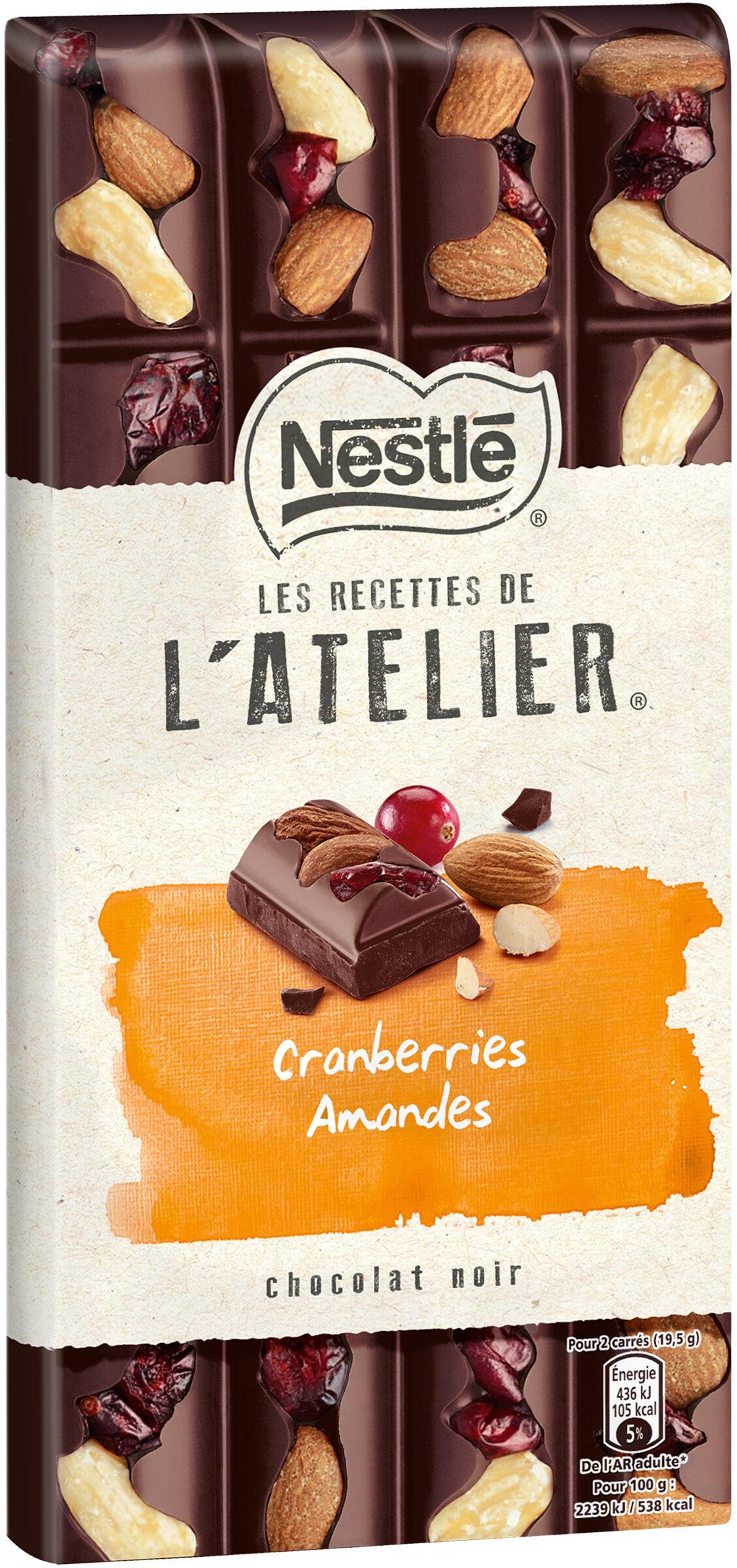 Chocolat Noir, Cranberries, Amandes - Produit - fr