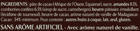 Chocolat Noir, Cranberries, Amandes - Ingrédients - fr