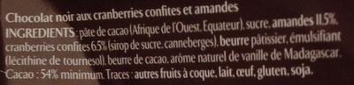 Chocolat noir cranberries amandes - Ingredientes
