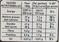 Chocolat noir Cranberries Amandes - Informations nutritionnelles - fr