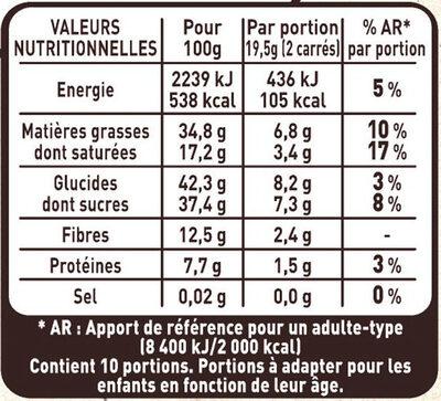 Chocolat Noir, Cranberries, Amandes - Informations nutritionnelles - fr