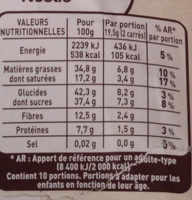 Chocolat noir cranberries amandes - Nutrition facts