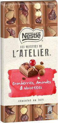 NESTLE L'ATELIER Chocolat au Lait, Cranberries, Amandes et Noisettes - Prodotto - fr