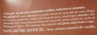 NESTLE L'ATELIER Chocolat au Lait, Cranberries, Amandes et Noisettes - Ingredienti - fr