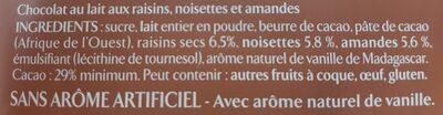 Les recettes de l'atelier Chocolat au lait Raisins, Amandes & Noisettes - Ingrédients - fr