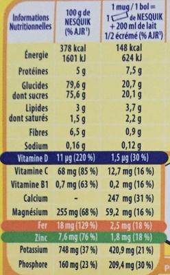 NESQUIK Poudre cacaotée 12 sticks de - Informazioni nutrizionali - fr