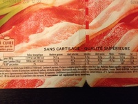 Fines Tranches, Poitrine Fumée (2 x 7 Tranches Fines) - Informations nutritionnelles