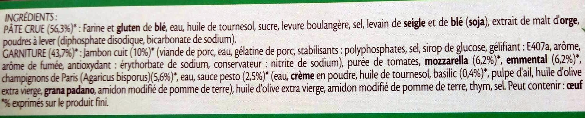 Fraîch'Up Jambon Fromages Champignons Pesto - Ingrédients - fr
