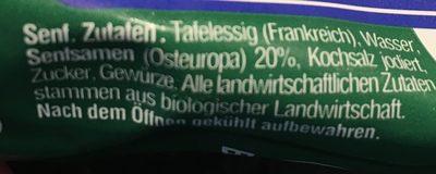 Thomy Bio Senf, Mild - Ingrédients