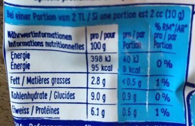 Thomy Bio Senf, Mild - Informations nutritionnelles - fr