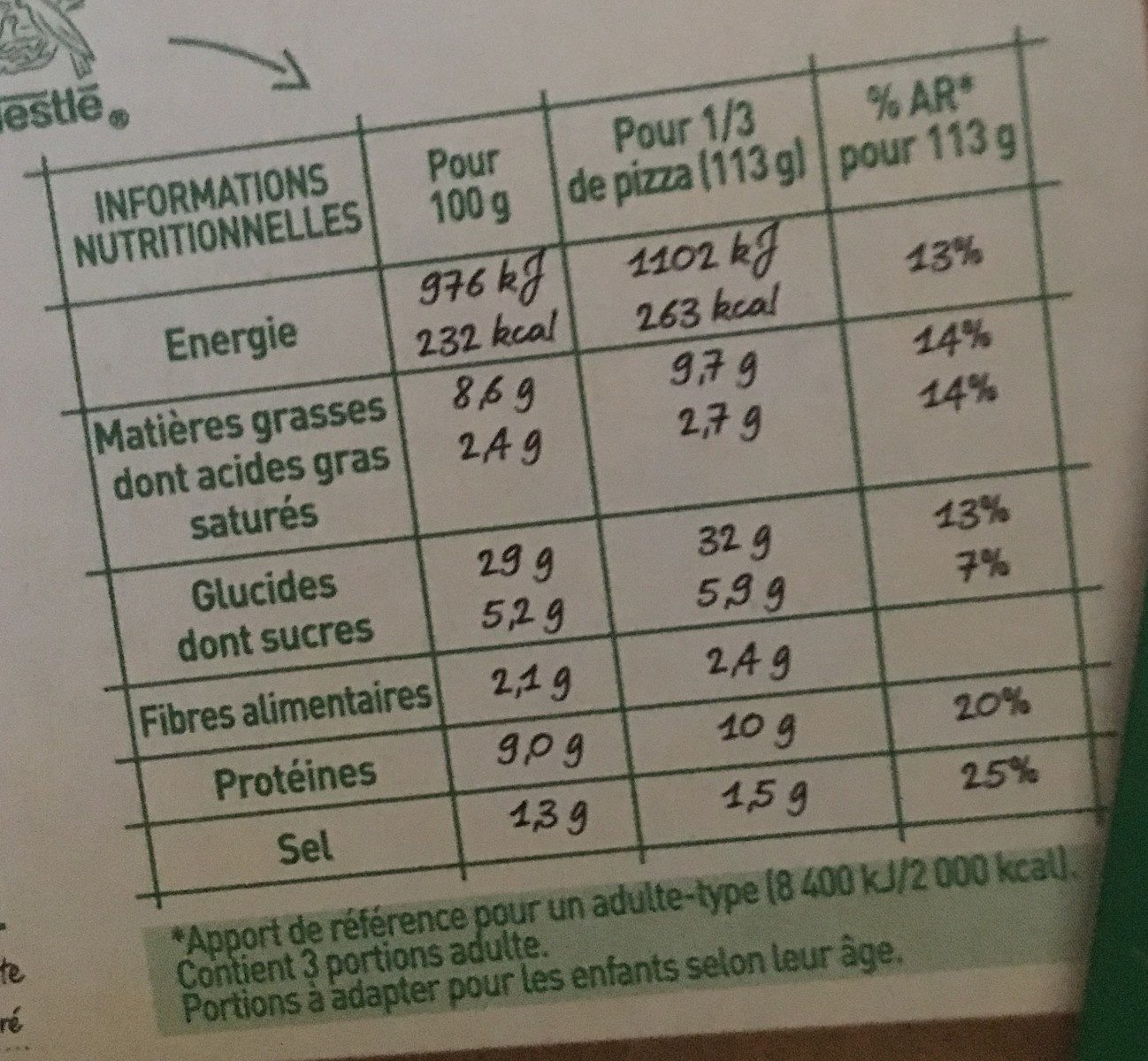 BUITONI FOUR A PIERRE Pizza Thon - Valori nutrizionali - fr