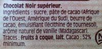 Chocolat noir dessert - Ingredients