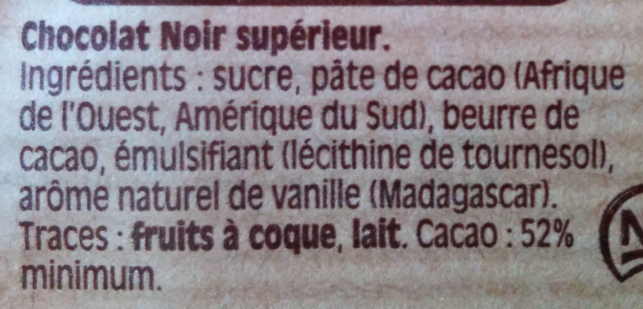 Chocolat noir dessert - Ingrediënten