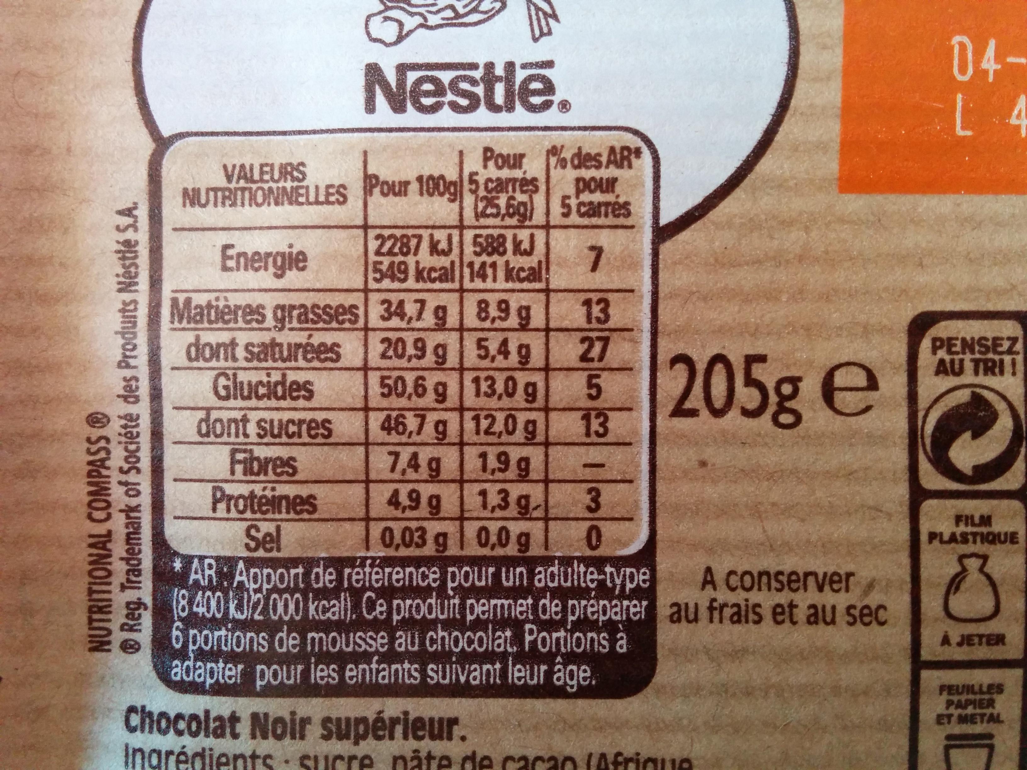 chocolat noir dessert nestl 233 200 g
