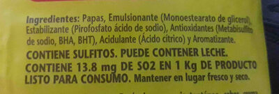 pure de papas - Ingredientes
