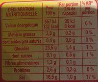 Cœur de bouillon - Nutrition facts