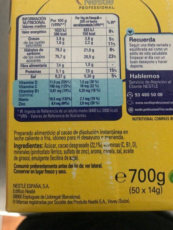 Nesquik - Ingredientes