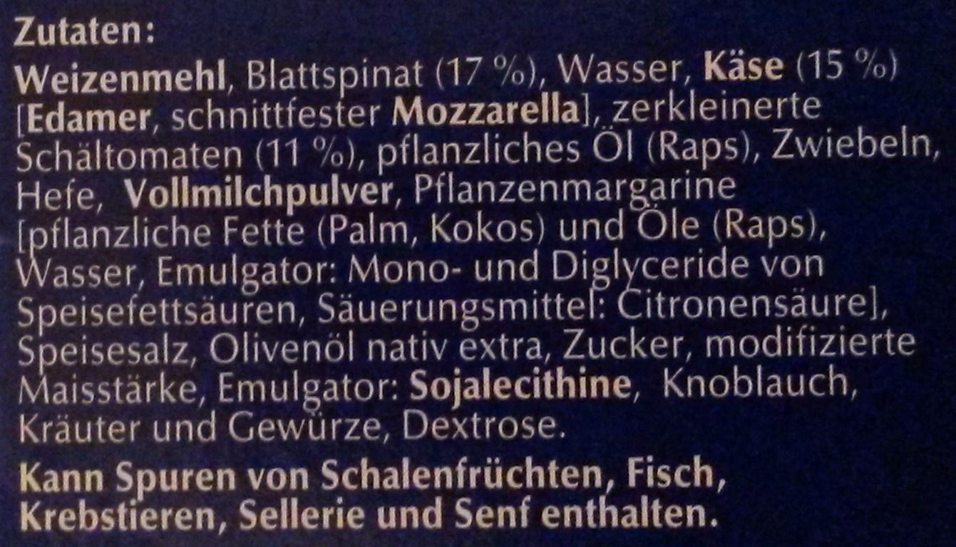 Steinofen Pizza Spinat - Ingrédients