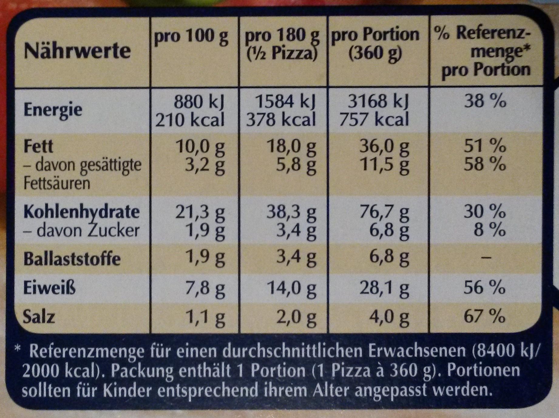 Steinofen Pizza Spinat - Informations nutritionnelles - de
